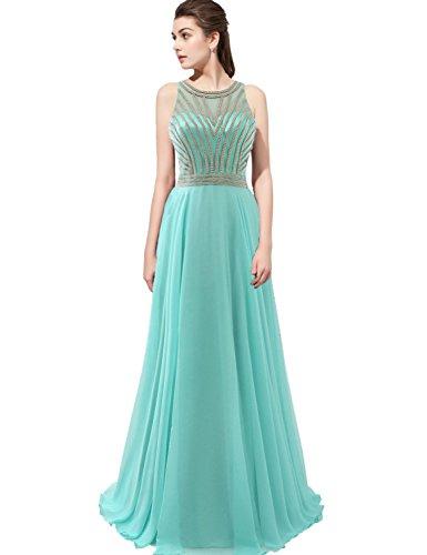 Belle House Women's Long Sheer Neck Prom Dress Beaded Chain Rhinestones Party Ball Gown Aqua