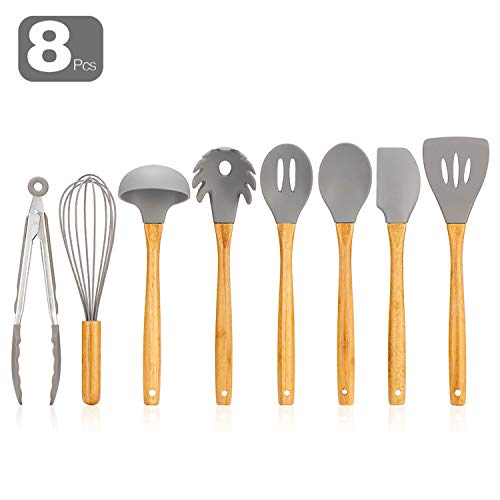 Silicone Kitchen Utensils – 8PCS Cooking Utensils Set with Natural Bamboo Wood Handle for Nonstick Cookware,Best Kitchen Tools for Gift,Grey