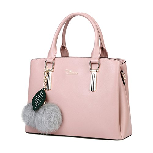 RENHONG Bolso De Cuero Ladies 2018 New Fashion Large Shoulder Messenger Bag (Blanco Rosa Negro Rojo),Black-30 * 13 * 21cm Pink