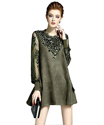 LANRUO Fashion Women's Long Sleeve Lace Sequins Cocktail Evening Mini