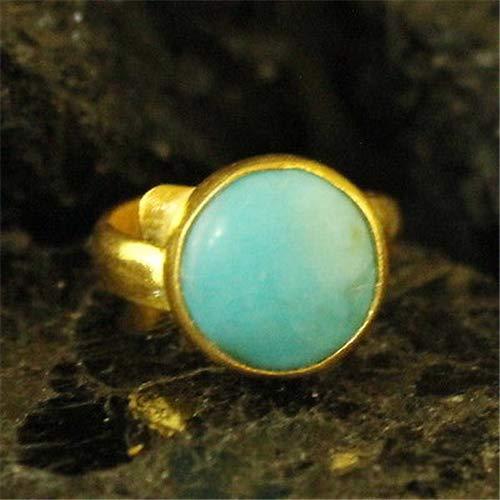 Ancient Design Handmade Hammered Designer Cabachon Turquoise 24K Gold Over 925K Sterling Silver