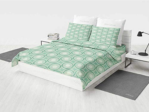 - Mint Girl Crib Bedding Sets Circles and Dots Linked with Lines Wavy Squares Geometric Retro Style Printing Four Pieces of Bedding Set Mint Emerald Almond Green