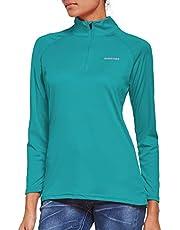 Ogeenier Damesshirt met lange mouwen UPF 50+ UV-bescherming, lange mouwen, loopshirt, sportshirt met 1/4 rits, voor training, wandelen, sport