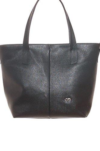 Borsa shopping donna in pelle Saffiano con tracolla staccabile Nero