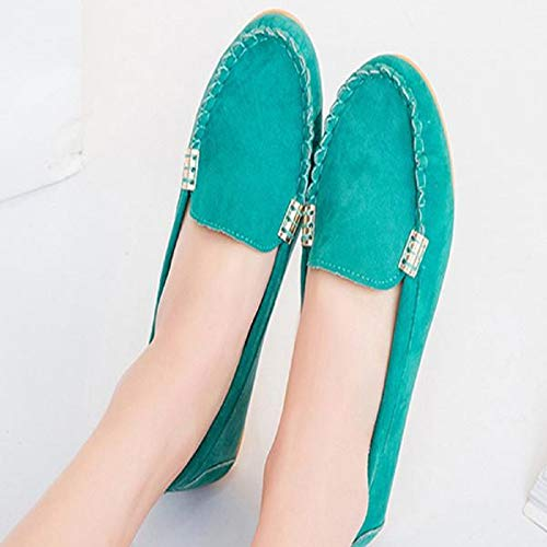 Plats Femme Chaussures Comfy En Vert Bateau Bringbring Souple ballerines Slip on Daim Chaussure CzaqCnwUr