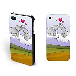 Pastel Loving Couples Animal For Iphone 6Plus 5.5Inch Case Cover Cute Elephant on Clouds Mountains For Iphone 6Plus 5.5Inch Case Cover for Teen Girls