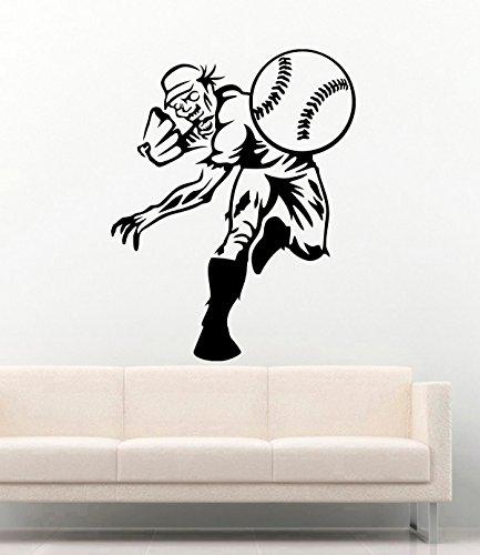 Halloween Vinyl Wall Decals Zombie Play Baseball Decor