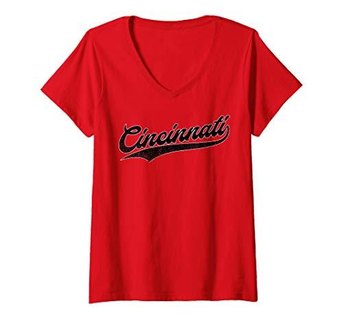 Womens Cincinnati Baseball | Ohio Pride Vintage Retro Red Gift V-Neck ()