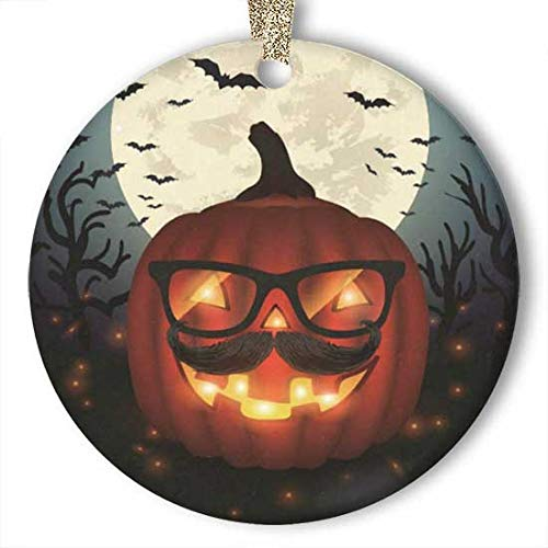 Hipster Halloween Ideas 2019 (10CIDY Halloween Hipster PumpkinGlasses Moon Bat Ornament (Round) Personalized Ceramic Holiday Christmas Ornament Ideas)