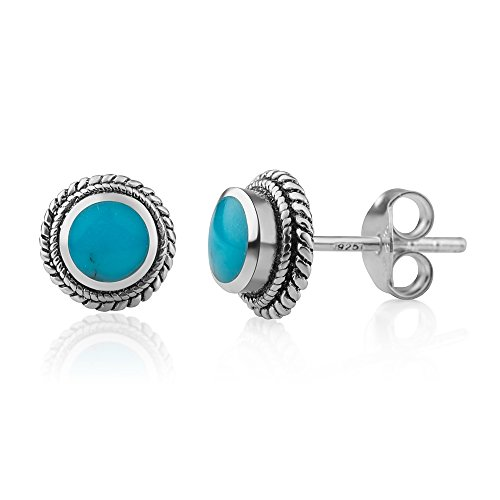 Turquoise Blue Earrings (Sterling Silver Bali Tiny Simulated Turquoise Rope Edge Round 9 mm Post Stud Earrings)