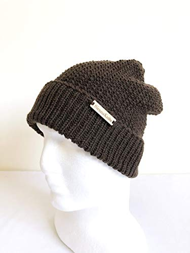Amazon.com  Brown Handmade Knit Merino Wool Beanie for Men and Women   Handmade b6f6b7f2860