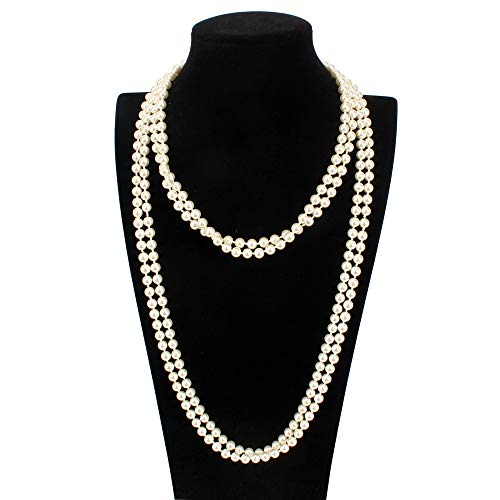 o Faux Pearls Ivory Beads Cluster Long Pearl Necklace 58