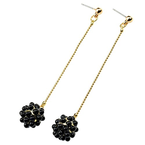 Retro Design Alloy Long Chain Imitation Pearl Ball Earrings(Black)