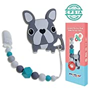 Baby Teething Toys, Panny & Mody BPA Free Silicone Teethers with Pacifier Clip Holder Set Freezer Safe Chew Beads for Newborn Babies Infants Boys Girls Teething Relief Baby Shower Gift(Dog)