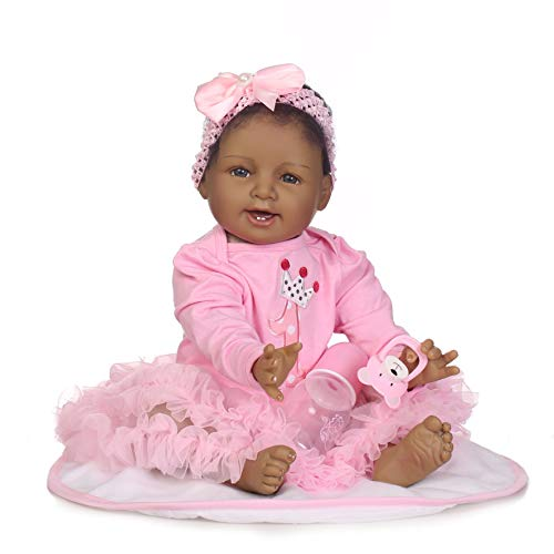 (Zero Pam Reborn Baby Dolls Girl Black Skin African American Baby Newborn 22inch Biracial Newborn Silicone Vinyl Doll)