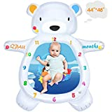 "QPAU Upgraded 3 in 1 Polar Bear Tummy Time Mat, Baby Water Mat, Baby Rattle Toy, Monthly Milestone Mat, Infant Baby Toys for 3 6 9 Months Newborn Boy Girl (48""X44"")"
