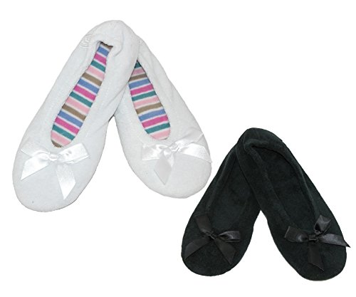 Totes Ballerina Pack Isotoner Black Black of Classic 2 Slippers Womens and Terry SIwSZ4Yrxq