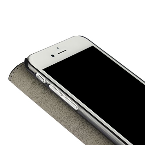 iPhone 7 (4.7 inches) funda,COOLKE Retro PU Cuero con Ranuras Leather de Wallet Carcasa Piel With Card Pouch Stand de protección Funda Tapa Case Cover para Apple iPhone 7 (4.7 inches) - Negro Rosa