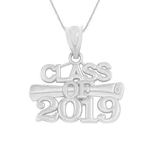 925 Sterling Silver Diploma Charm Class of 2019 Graduation Pendant Necklace, -