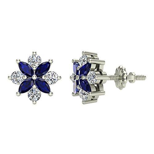 Sapphire & Diamond Earrings Marquise & Round Cut 14K White Gold 0.90 cttw ()