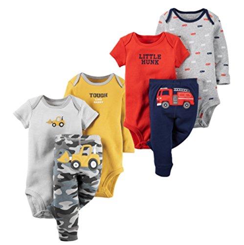 2 Pack Bodysuit Set (Carter's Baby Boys 3 pc. Bodysuit Pant Clothing Set, 2 Pack (18 Months, Fire Truck/ Bull Dozer))