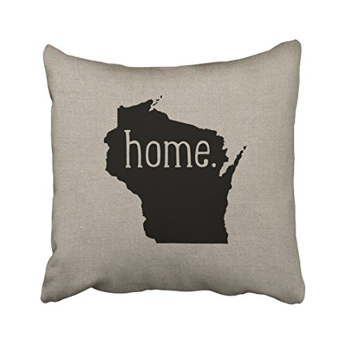 Emvency Decorative Throw Pillow Cover Square Size 16x16 Inches Wisconsin Hometate Decor Pillowcase With Hidden Zipper Decor Fashion Cushion Gift For Home Sofa Bed Car