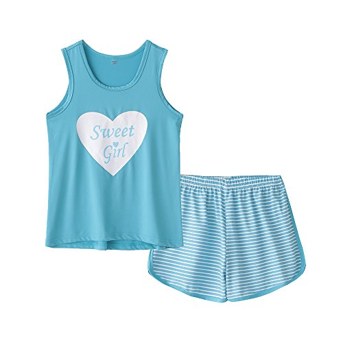 MyFav Big Kids Girls Sleeveless Sleepwears Hearts Shape Striped Pajama Nightgown -