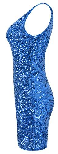 Women's Dresses Blue Sequins Howriis Neck Sleeveless Mini V dqwSxBfYP