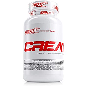SHREDZ Creatine Supplement Pill for Men, Build Muscle, No Bloating, Boosted Performance, Increased Pump & Vascularity, 120 Capsules (30 Day Supply)
