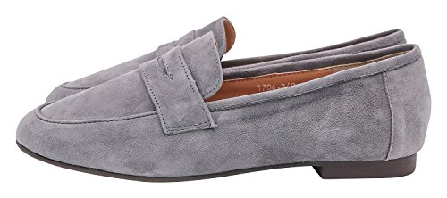 AnnaKastle Womens Genuine Suede Leather Classic Penny Loafer Slip Ons Daily Shoes (Leather Genuine Suede Ladies)