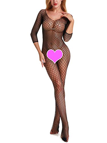 SeaFever Women's Fishnet Lingerie Full Body Open Crotch Fishnet Bodystockings Plus Size Bodysuit (Black)