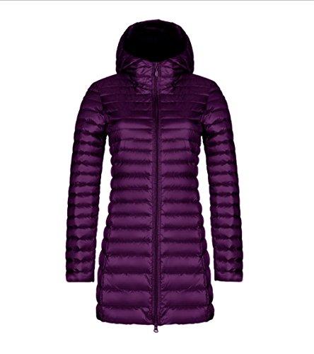 Thicken Womens Warm Hooded Faux Fur Slim Coat Outerwear L Long Winter Jacket Parka Overcoat Down Colla PURPLE TgqnTUHrPw