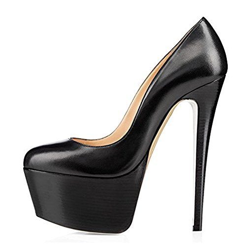 y Platform Round Toe High Heels Slip On Stiletto Party Dress Pumps Black PU 10 M US ()