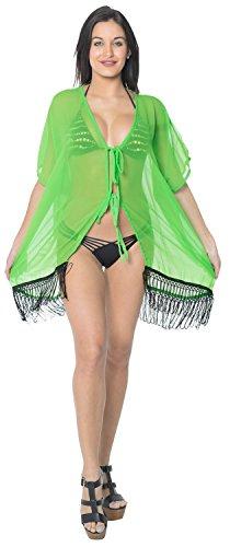 La Leela vestido corto 4 en 1 liviano 5 oz partido encogimiento hombros gasa traje baño pura chaqueta punto top túnica kimono traje baño ocasional cabo estilo más boho cordón señoras tamaño encubrir Verde