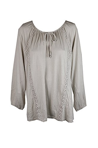 Style & Co Shirt Top (Style & Co. Womens Plus Crochet Trim Tie-Front Pullover Top Beige 3X)