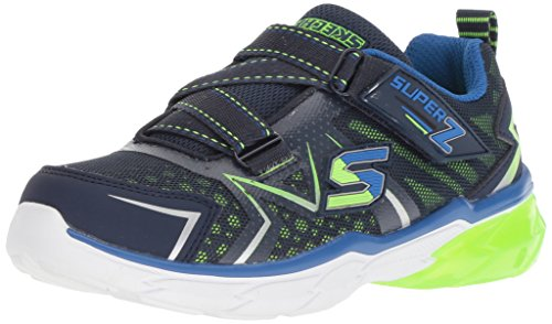 Skechers Kids Boys' THERMOFLUX Sneaker, Navy/Lime, 4.5 Medium US Big Kid