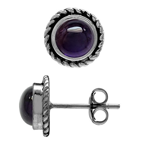 6MM Round Shape Cabochon Amethyst 925 Sterling Silver Rope Stud Earrings ()