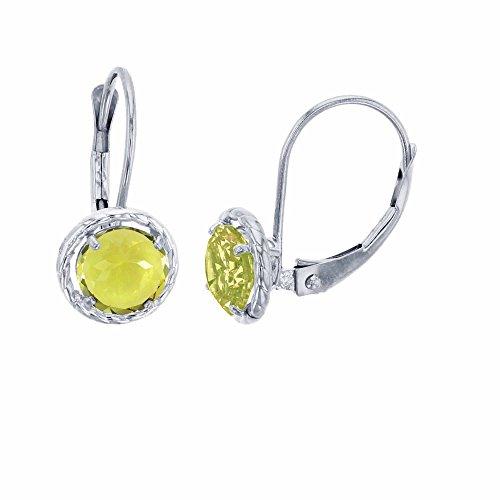 - 10K White Gold 5mm Round Lemon Quartz Center Stone Rope Frame Leverback Earring