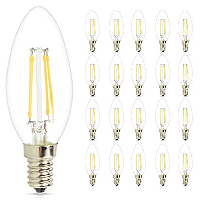 Mengjay 20 Pcs LED Candelabra Bulbs, 4W 2700K Warm White Candle Light Bulbs, 360LM E12 Base Chandelier LED Bulbs, C35 Torpedo Shape Filament Bulb, 30W Equivalent, Indoor&Outdoor Vintage Bulb