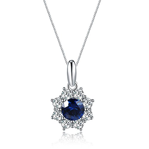 Mozume Star Style Created Blue Sapphire Pendant Necklace 925 Sterling Silver Box Chain 18 (Blue Sapphire Star Pendant)