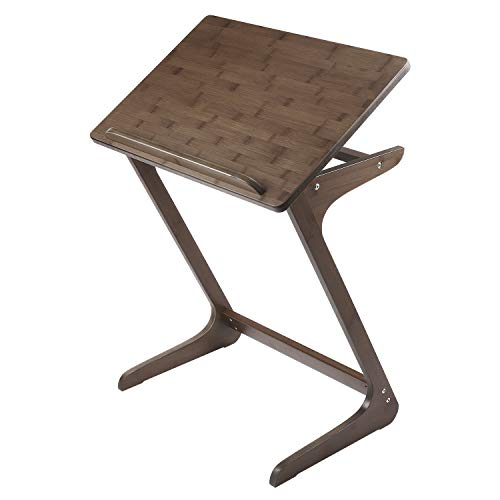 Sofa Table TV Tray, NNEWVANTE Couch Sofa End Table Laptop Desk Bamboo Coffee Table Side Table Snack Tray for Eating Writing Reading Living Room Modern Furniture 26.6 15.7 Walnut