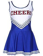 TOOGOO(R)) Vestido sin Mangas Vestido Azul Chica de Pom Pom Animadora Chica de Fiesta XS 28-30 Futbol Escuela