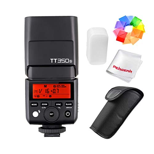 Godox TT350S 2.4G TTL Speedlite Flash Sony Mirrorless Cameras - GN36 HSS(Max.1/8000s) 0.1-2.2s Recycle Time 210 Full Power Flashes 22 Steps Power Output(1/1-1/128) 24-105mm Auto/Manual Zooming ...
