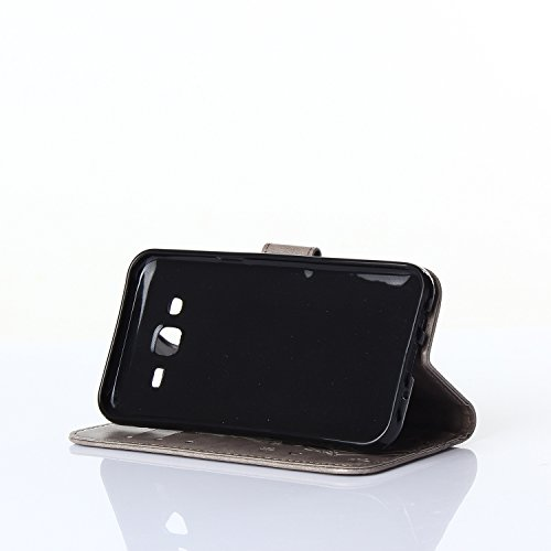 CMID Billetera Funda Protectora de Cuero PU para Samsung Galaxy J5 2016 con Cierre Magnético y Función de Soporte, Estuche de Flor y Mariposa A-4