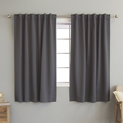 "Best Home Fashion Thermal Insulated Blackout Curtains - Back Tab/Rod Pocket - 52"" W x 63\"" L - Dark Grey (Set of 2 Panels)"
