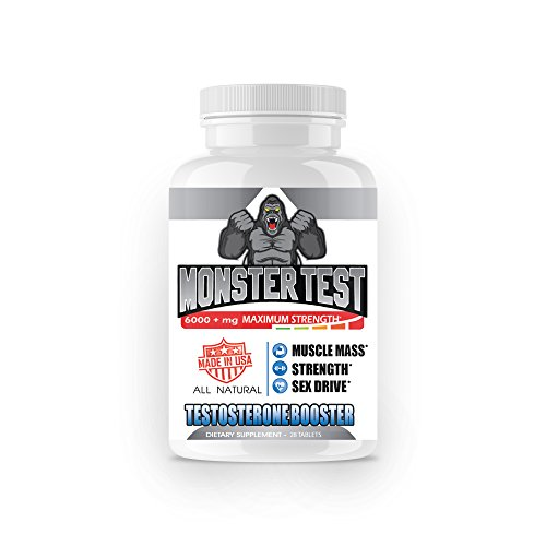 Angry Supplements Monster Test Testosterone Booster-5452 mg, Cranks T-Levels Naturally Formulated in The USA to Gain Muscle Mass, Boost Energy in The Gym, Last Longer in The Bedroom. (28ct-Bottle)