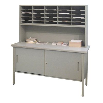25 Adjustable Slot Literature Organizer with Riser and Cabinet Color: Gray Textured Steel/Gray Laminate Surface by Marvel