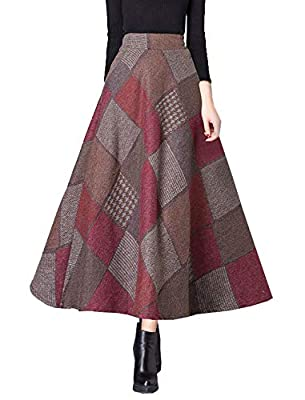 Allonly Women's A-Line Woolen Plaid High Waisted Elastic Waist Swing Thickened Maxi Long Skirt