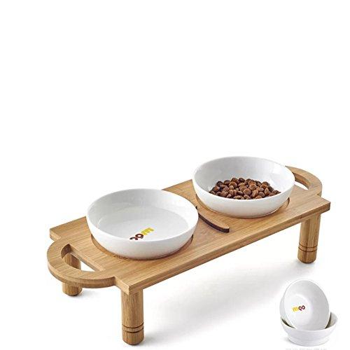 Perro Bowl Tazón De Fuente Doble Cerámica Bambú Madera Comedor Mesa De Acero Inoxidable-R