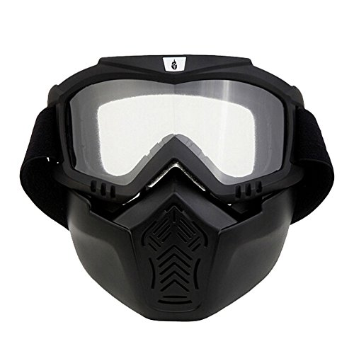 ThyWay Anti-Fog Windproof Motorcycle Goggles Riding Detachable Modular Face Mask Shield Goggles - Protect Padding Mouth Filter for Motorcycle Helmet (White)